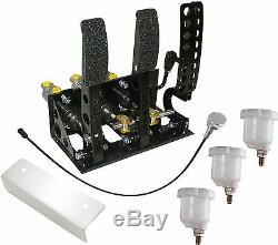 Universal Floor Mount Bulkhead Fit Hyd Clutch Race Pedal Box Silver Kit OBPVIC02
